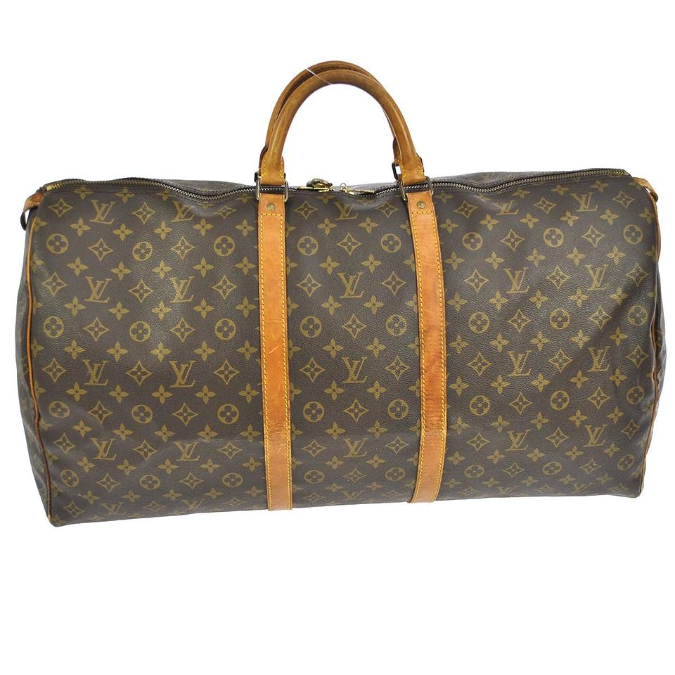 louis vuitton authentic keepall 60 monogram hand bag travel bag boston bag weekender in great. Black Bedroom Furniture Sets. Home Design Ideas
