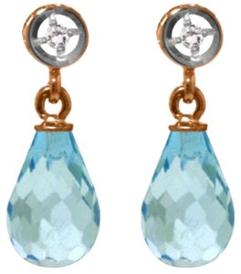 Other 2.73 CTW 14k Rose Gold Diamond and Blue Topaz Earrings