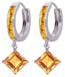 Other 4.4 CT 14k White Gold Huggie Earrings with Dangling Citrine Gemstones