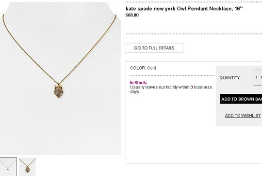 Kate Spade NEW Kate Spade In The Woods Owl Pendant Necklace - 12k Gold Crystals