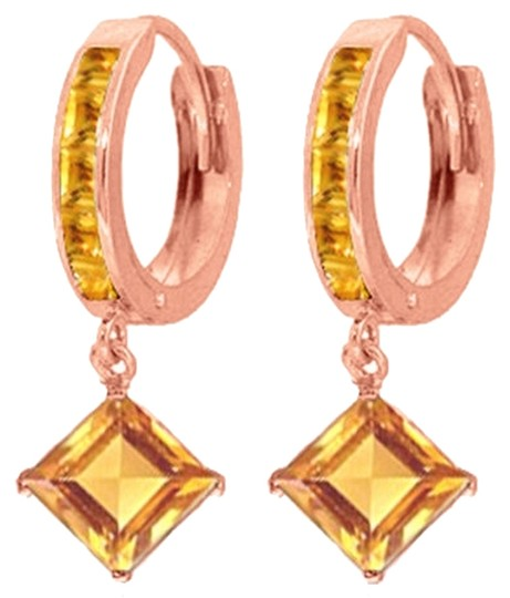 Other 4.4 CT 14k Rose Gold Huggie Earrings with Dangling Citrine Gemstones