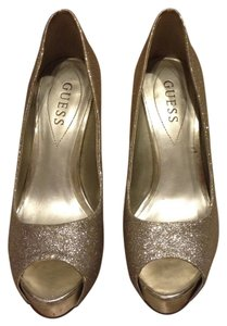 Guess Glitter Girls Night Out Gold Pumps