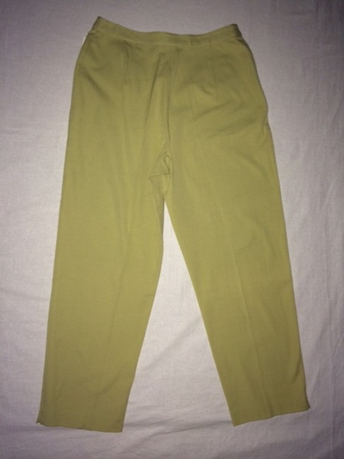 Charter Club Twill Ankle Slits Trouser Pants Moss Green