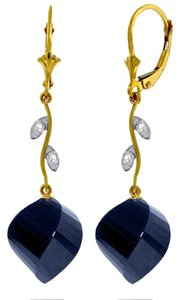 30.52 CT 14k Yellow Gold Diamond and Blue Sapphire Earrings
