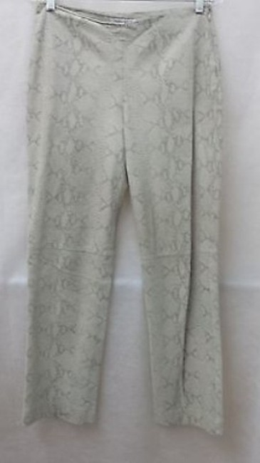 Nine West Animal Print Leather Straight Pants BEIGE