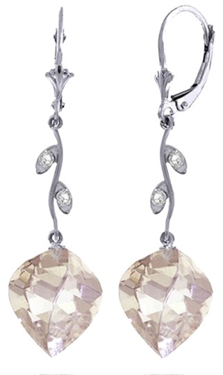 Other 25.62 Ct 14k White Gold Diamond and White Topaz Chandelier Earrings