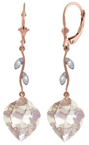25.62 Ct 14k Rose Gold Diamond and White Topaz Chandelier Earrings