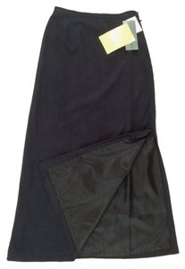 Jessica Holbrook Faux Suede Buttersuede Side Maxi Skirt Black