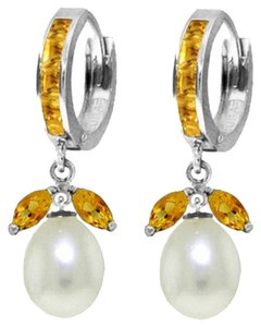 10.3 Ct 14k White Gold Citrine and Pearl Dangle Earrings