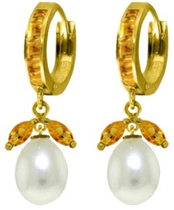 10.3 Ct 14k Yellow Gold Citrine and Pearl Dangle Earrings