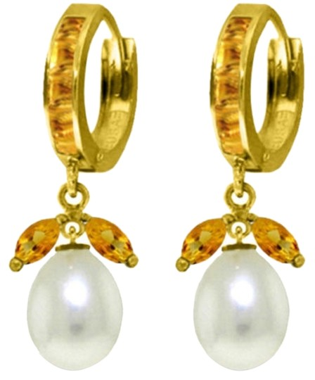 Other 10.3 Ct 14k Yellow Gold Citrine and Pearl Dangle Earrings