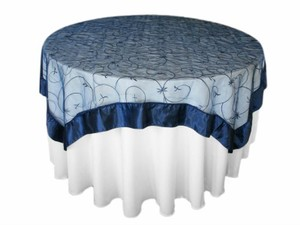 Blue 13 Navy Embroidered Table Overlays Tablecloth