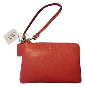 Coach Leather Saffiano Wristlet in Pink Scarlet