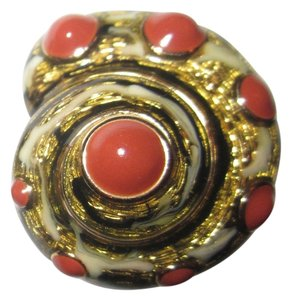 Edwin Pearl Edwin Pearl Button Shell Clip Earrings Enamel Red Cabochon Signed