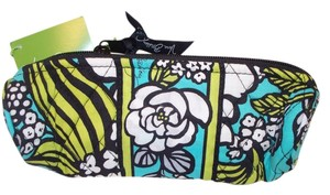 Vera Bradley NWT VERA BRADLEY On a Roll Case Pen Pencil Coin Cosmetic Bag Retired Rare Island Blooms Teal White
