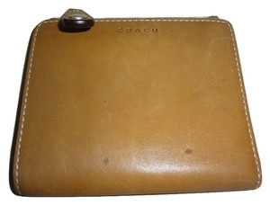 Coach COACH ~ Camel Brown Smooth Leather Bifold Compact Mini Wallet