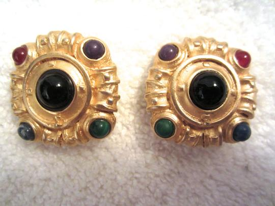 Lazuli Gold and Multi-Color Cabochon Clip Earrings Signed Lazuli