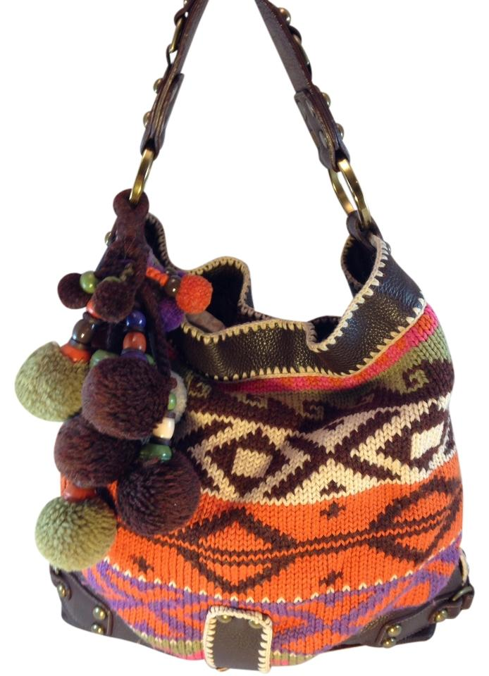 91a434ba64 Isabella Fiore Intarsia Handle Trim Bohemian Studded Yarn Ball Key-chain Brown  Orange Cream Purple Sage Leather Acrylic and Wool Satchel