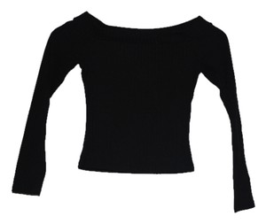 River Island Long Sleeved Long Sleeved Wide Neckline Winter Fall Top Black