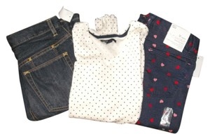 Gap Kids Skinny Jeans Polka Dot V-neck T Shirt Multi