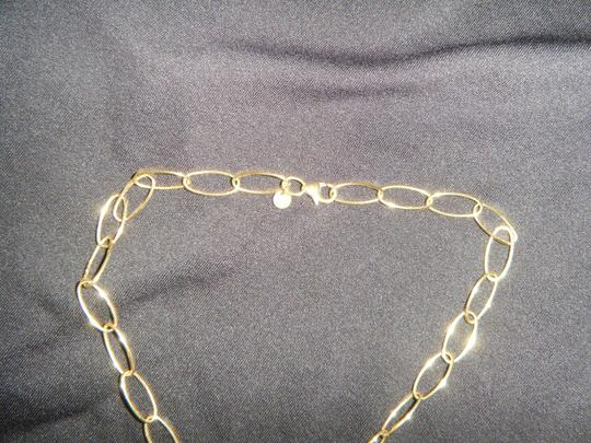 Other Oval Link 14K Gold Necklace with White 14K Gold Oval Pendant