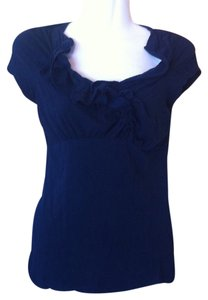 Anthropologie Ric Rac Ruffled Top Navy Blue