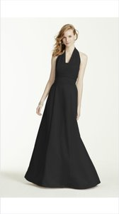 David's Bridal Black Illusion Halter Dress