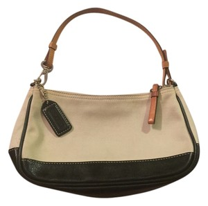 Coach Leather Canvas Baquette Shoulder Bag
