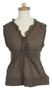Anthropologie Odille Taupe Ruffled Top Brown
