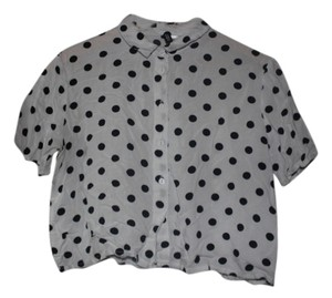 Divided by H&M Crop Top Black and White Polka Dot