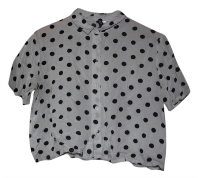 Divided by H&M Crop Button Up Preppy Fall Top Black and White Polka Dot