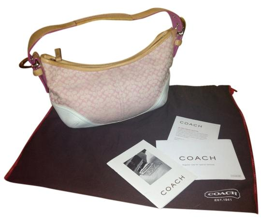 Preload https://item5.tradesy.com/images/coach-pink-cloth-and-leather-baguette-5441959-0-0.jpg?width=440&height=440