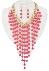 DaVinci Gold Tone Hot Pink Acrylic Necklace and Earrings
