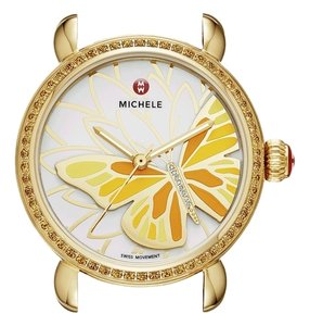 Michele Nwt Michele garden party topaz diamond butterfly watch snake skin strap