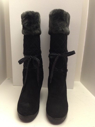 Marc Jacobs Suede Winter Wedge Faux Fur Black Boots