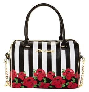Betsey Johnson Roses Red Striped Tote in black