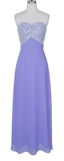 Purple Chiffon Lavender Crystal Beads Bodice Open Back Long Formal Dress Size 14 (L)