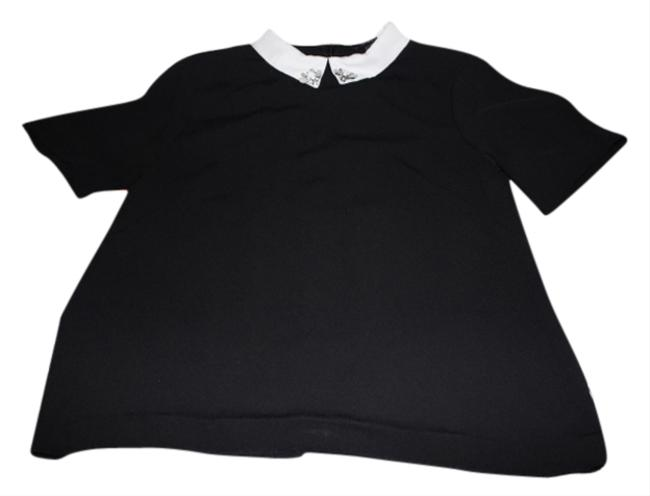 H&M Cropped Peter Pan Collar Fall Top black