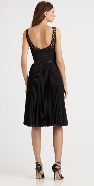 Theia Pleated Lace Belted Chiffon Dress