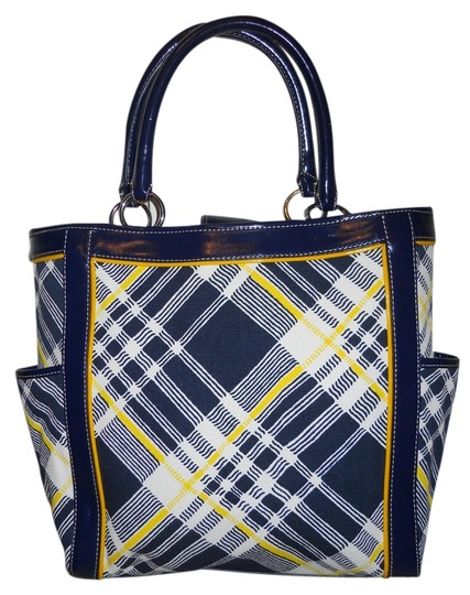Talbots Cotton Leather Man Made Tote in navy, white & yellow plaid