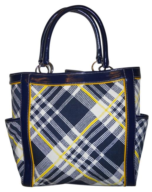 Item - Navy White & Yellow Plaid Cotton with Man Made Leather Trim Tote