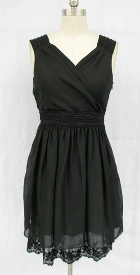 Black Chiffon Goddess Feminine Dress Size 10 (M)