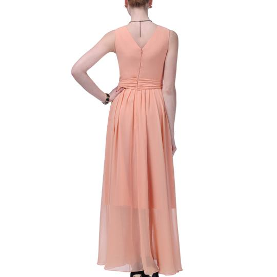 Peach Chiffon Long Graceful Sleeveless Waist-tie Formal Traditional Bridesmaid/Mob Dress Size 20 (Plus 1x)