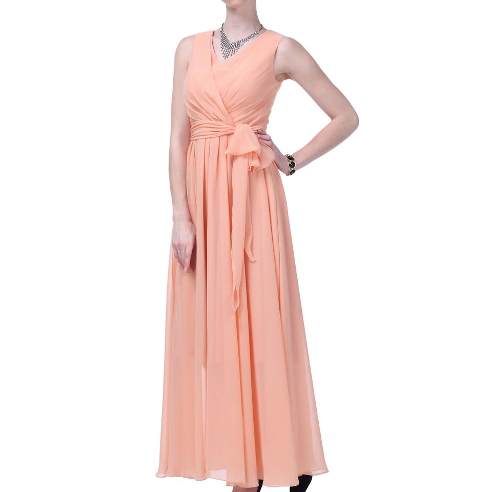 Peach Chiffon Long Graceful Sleeveless Waist-tie Formal Modest ...