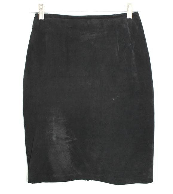 Andrea Jovine Suede Leather Pencil Skirt BLACK