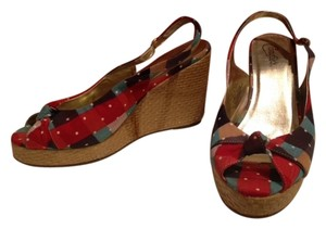 Candie's Open Toe Wedge PLAID Wedges