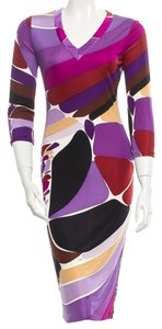 Emilio Pucci Multicolor Longsleeve V-neck Belted Print Silk Dress