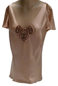 Dana Buchman Silk Beaded Top Peach