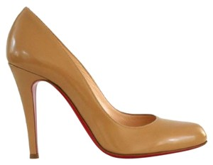 Christian Louboutin Decollete 868 37.5 6.5 7 Camel Nude Beige Jazz Calf Round Toe Pump Wedding Shoes