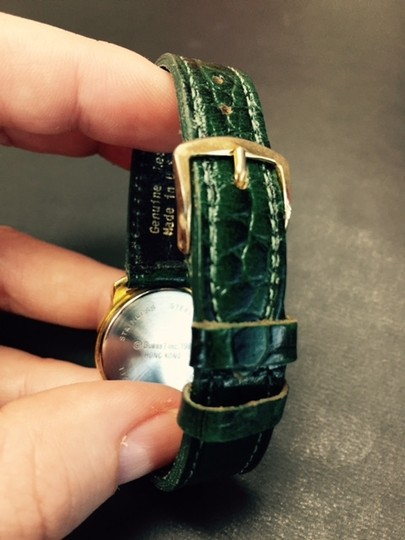 Guess Green leather band watch